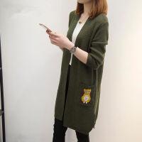 中长款勾花加厚针织开衫女春秋冬装韩版纯色宽松外搭毛衣外套