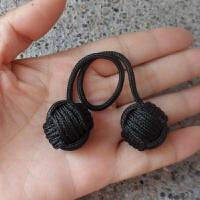 手指溜溜球 伞绳编织猴拳结begleri 球 手指尖解压运动悠悠球钢珠款 黑色