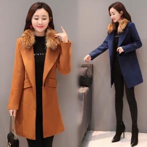 RANJU 然聚2018冬季新品新款 毛呢外套女中长款韩版时尚流行冬季呢子加厚大衣潮