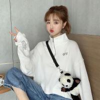 秋冬女装2019年韩版长袖字母原宿宽松短款立领卫衣潮上衣外套