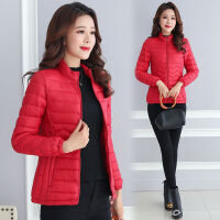 大码棉衣女短款韩版修身外套轻薄小棉袄冬装女装 L码 建议96斤以内