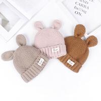 儿童韩版秋冬毛线帽宝宝绒款兔耳朵针织帽5-10岁保暖帽