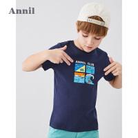 【3件3折】安奈儿童装男童短袖T恤夏2020新款中大童鳄鱼漫画上衣纯棉学生装2