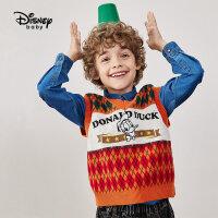 【2件4折券后价:71.8元】迪士尼童装男童复古毛线儿童马甲宝宝无袖上衣潮