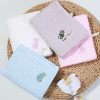 三利 纯棉儿童毛巾4条装 A类纺织标准 婴幼儿亲肤洁面巾 全棉卡通绣花洗脸巾