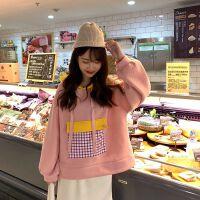 秋冬女装加绒加厚卫衣女设计感口袋拼接撞色连帽运动外套宽松 粉色 219