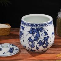 景德镇陶瓷米缸带盖密封储米桶青花油缸酒坛水缸密封5kg10斤装 图片色