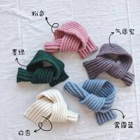 208秋冬款儿童纯色粗毛线围巾女童百搭柔软针织围脖男童围巾