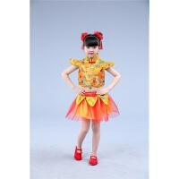六一儿童演出服喜庆中国风开门红打鼓表演服装幼儿秧歌服装 黄色短袖女款 100cm