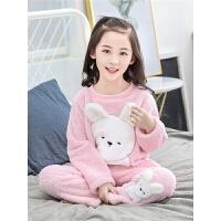 女童珊瑚绒睡衣长袖套装秋冬款女孩儿童家居服冬季法兰绒绒款