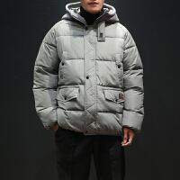冬季工装棉衣男士假两件学生ins潮流冬装面包服新款加厚棉服