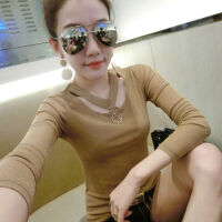 加绒加厚秋冬季网纱韩版修身时尚打底衫上衣小衫长袖T恤女装