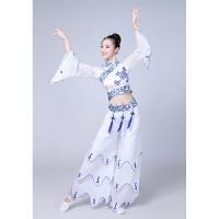 新品青花瓷演出舞舞蹈服装中国风古典扇子秧歌表演服款儿童款