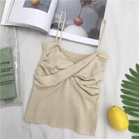 吊带背心女春装性感纯色修身百搭外穿打底衫短款内搭显瘦裹胸上衣 均码