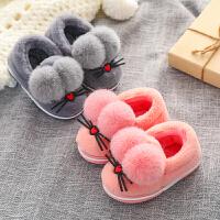 儿童棉拖鞋包跟男童保暖冬季可爱fang滑宝宝棉鞋女1-3岁小孩带后跟