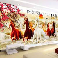 5D钻石画八骏图十字绣马满钻马到成功八匹马简约贴钻石绣客厅