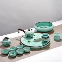 龙泉青瓷手绘办公整套家用功夫茶具礼盒套装礼品茶杯盖碗侧把壶
