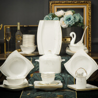 北�W骨瓷碗碟套�b白色��s景德�陶瓷餐具套�b家用碗�P�M合 �金 70件版