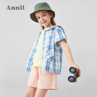 【3件3折价:59.7】安奈儿童装女童衬衫2020夏季新款海军领心形口袋洋气女孩格子衬衫