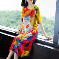 欧美女装2018夏季新款女装印花丝连衣裙桑蚕丝显瘦裙子 花色 2X