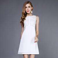 蕾丝无袖白色连衣裙女夏气质修身职业中长款a字打底背心裙子春秋