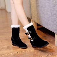 彼艾2017秋冬新款短筒靴平底内增高防滑毛毛鞋保暖女靴雪地靴子学生女短靴