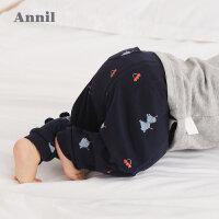 【3件3折:38.7】安奈儿童装男宝宝裤子可开档秋装新款新生儿婴童针织长裤纯棉