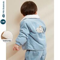 迷你巴拉巴拉婴儿羊羔毛保暖外套男宝宝翻领上衣2019冬季新款童装
