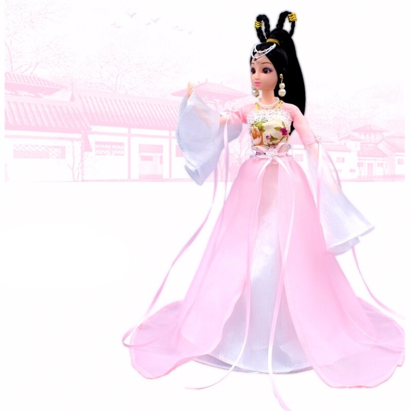 中国风古装芭比娃娃套装 中国古装换装洋娃娃套装大礼盒民族古代仙女公主衣服饰 粉红色 樱花公主 12关节娃娃+8大礼品