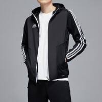 adidas阿迪达斯男服外套夹克2019新款防风服足球跑步休闲运动服D95955