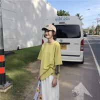 韩国夏季简约宽松圆领卷边短袖色基础打底衫T恤上衣女糖果色TEE 均码