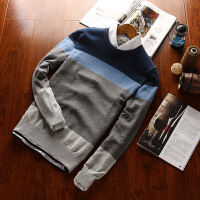 立秋条纹拼接纯色毛衣男冬季韩版宽松套头圆领线衣针织衫男长袖潮