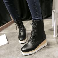 彼艾冬季英伦风厚底坡跟短靴女秋2016潮圆头系带马丁靴布洛克女靴子