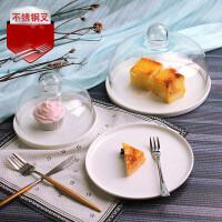 面包试吃盘带盖 玻璃罩展示盘水果盘客厅 家用甜品台托盘