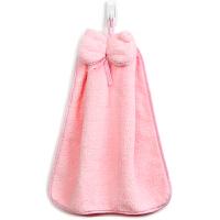 [当当自营]三利 珊瑚绒蝴蝶结挂式擦手巾30×44cm 桃粉色 加厚不掉毛强吸水 浴室厨房居家多用途抹手毛巾