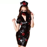 情趣内衣性感黑色护士cospla制服万圣节sm扮演服夜店派对表演套装 衣服+头饰+围裙+口罩 均码
