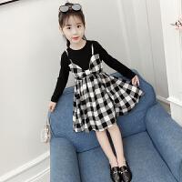 女童连衣裙秋装2018新款韩版长袖公主裙儿童洋气格子裙女孩潮衣服