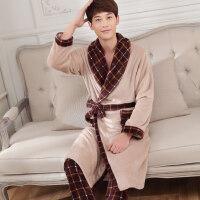 睡袍情侣睡衣女秋冬季珊瑚绒浴袍男士法兰绒加厚长款浴衣两件套装 X