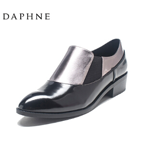 Daphne/达芙妮圆漾系列秋英伦风金属鞋面拼接侧弹力布单鞋