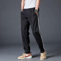 夏季男士运动裤宽松直筒涤纶休闲长裤青少年学生校裤速干薄款大码 黑色白条 CK2204