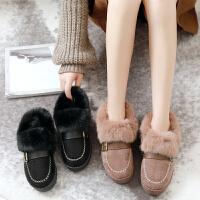豆豆鞋女冬棉鞋女冬加绒2018新款毛毛鞋女韩版秋季女鞋冬季一脚蹬