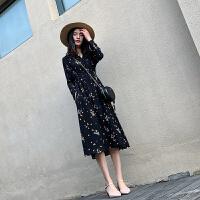 赫本法式黑色雪纺长裙春装女2020新款碎花连衣裙仙女超仙波点裙子