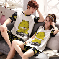 2套价 韩版夏款纯棉情侣睡衣女夏季短袖薄款可爱卡通男士家居服套 88010 加菲猫