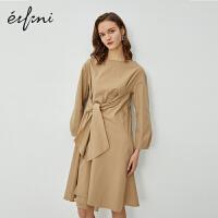 伊芙丽连衣裙2020新款春装裙子女时尚气质系带中长款衬衫裙