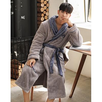 美舒绒睡袍秋冬季珊瑚绒睡衣男冬天加厚保暖家居服中长款男士睡袍