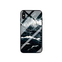冷淡风苹果6手机壳7plus海浪玻璃6保护套iphonex男女款8个性创意