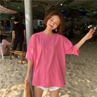 春季韩版chic风简约宽松色学生百搭短袖T恤糖果色上衣打底衫女 均码