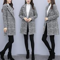 【巨亏格子毛呢外套】RANJU 然聚2018女装秋冬季新品新款毛呢外套女中长款韩版修身格子呢子大衣
