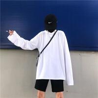 长袖白色T恤秋季上衣服情侣装学生韩版潮流宽松体恤打底衫女