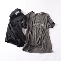 【T】【男装】E@23 夏季韩版时尚气质圆领套头印花短袖上衣
